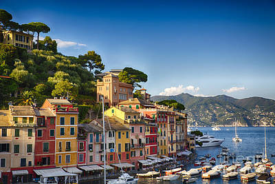 Colorful Harbor Houses In Portofino Art Print by George Oze
