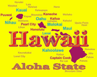 Photograph - Colorful Hawaii State Pride Map Silhouette  by Keith Webber Jr