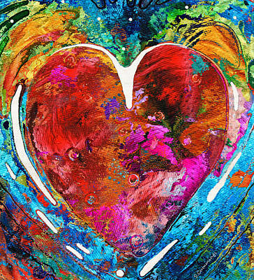Red Art Painting - Colorful Heart Art - Everlasting - By Sharon Cummings by Sharon Cummings