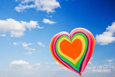 Eat Photograph - Colorful Heart Shaped Lollipop On Sky Background by Michal Bednarek