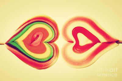 Taste Photograph - Colorful Heart Shaped Sweet Lollipops by Michal Bednarek