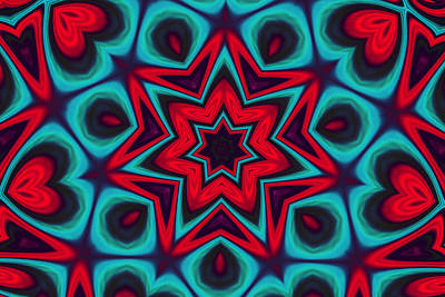 Digital Art - Colorful Hearts And Stars Mandala by Peggy Collins