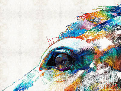 Horse Eye Painting - Colorful Horse Art - A Gentle Sol - Sharon Cummings by Sharon Cummings