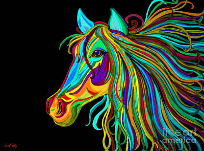 Best Sellers - Animals Drawings - Colorful Horse Head 2 by Nick Gustafson