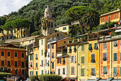 Colorful House Facades Of Portofino Art Print by George Oze