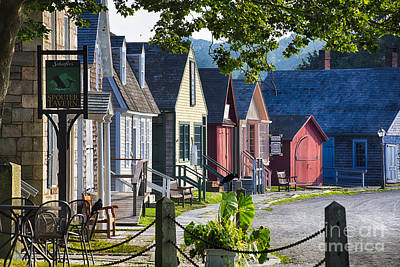Colorful Houses In Mystic Seafaring Village Art Print by George Oze