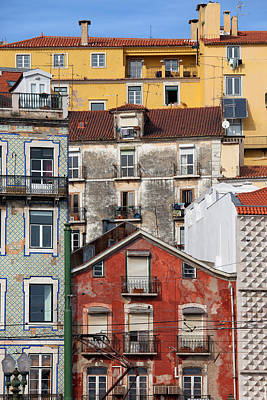 Colorful Houses In The City Of Lisbon Art Print by Artur Bogacki