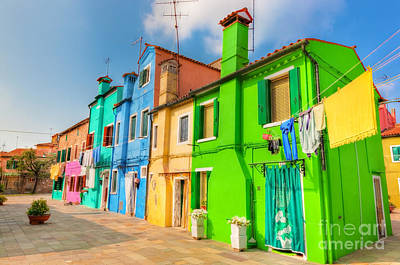 Pastel Photograph - Colorful Houses On Burano Island Near Venice Italy by Michal Bednarek