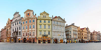 Prague Photograph - Colorful Houses On Old Town Square by Panoramic Images