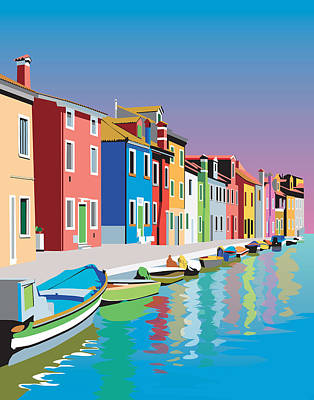 Colorful Houses Art Print by Robert Korhonen