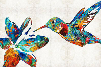 Sea Birds Painting - Colorful Hummingbird Art By Sharon Cummings by Sharon Cummings
