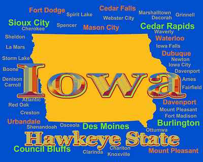 Photograph - Colorful Iowa State Pride Map Silhouette  by Keith Webber Jr