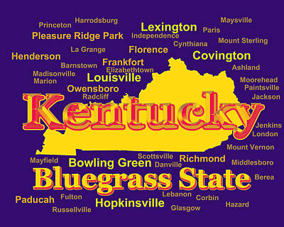 Photograph - Colorful Kentucky State Pride Map Silhouette  by Keith Webber Jr