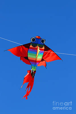 Colorful Kite That Flies High In The Sky Blue Art Print by Federico Candoni