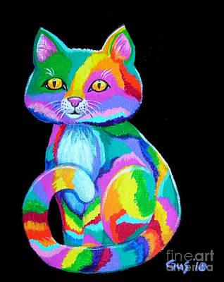 Colorful Kitten Art Print by Nick Gustafson