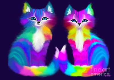 Kittens Digital Art - Colorful Kitty Couple by Nick Gustafson