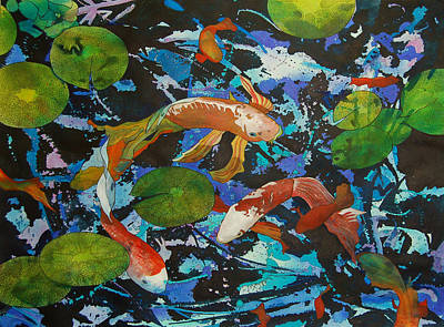 Painting - Colorful Koi by Terry Holliday