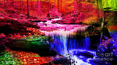 Mixed Media - Colorful Landscape And Water Flow by Marvin Blaine