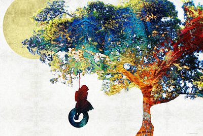 Colorful Landscape Art - The Dreaming Tree - By Sharon Cummings Art Print by Sharon Cummings