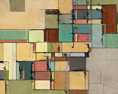 Rectangular Painting - Colorful Lattice Abstract Art by Karyn Lewis Bonfiglio