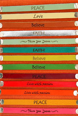 Photograph - Colorful Leather Word Bracelets by Jeff Lowe