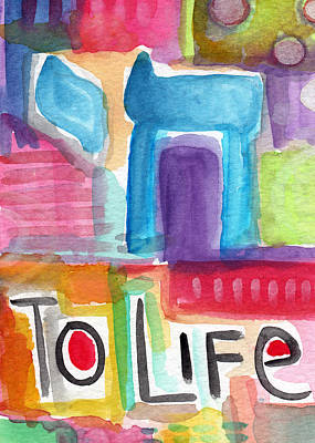 Jewish Mixed Media - Colorful Life- Abstract Jewish Greeting Card by Linda Woods