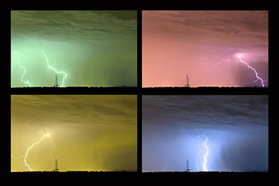 Photograph - Colorful Lightning Thunderstorm Collage by James BO Insogna