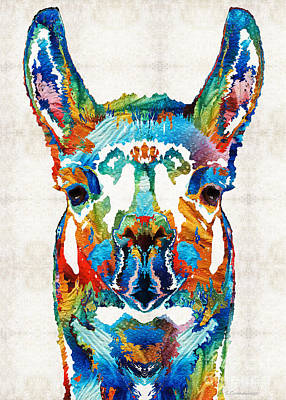 Ears Painting - Colorful Llama Art - The Prince - By Sharon Cummings by Sharon Cummings