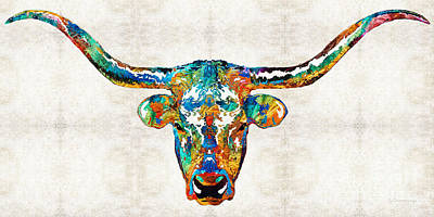 Colorful Longhorn Art By Sharon Cummings Art Print by Sharon Cummings