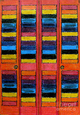 Colored Pencil Abstract Drawing - Colorful Louvre Doors by Patricia Januszkiewicz