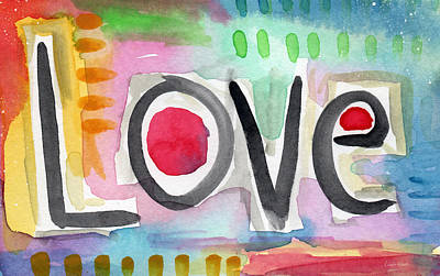 Gallery Wall Art Mixed Media - Colorful Love- Painting by Linda Woods