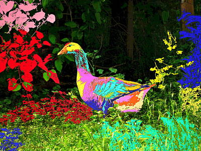 Friendly Digital Art - Colorful Lucy Goosey by Joyce Dickens