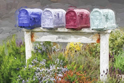 Mailbox Photograph - Colorful Mailboxes And Flowers Painterly Effect by Carol Leigh