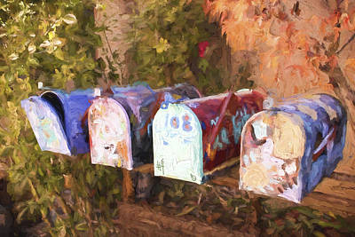 Mail Box Photograph - Colorful Mailboxes Santa Fe Painterly Effect by Carol Leigh