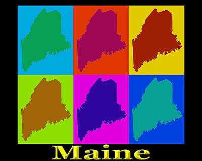 Maine Photograph - Colorful Maine Pop Art Map by Keith Webber Jr