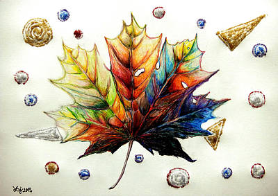 Abstract Forms Drawing - Colorful Maple Leaf by Daniel Janda
