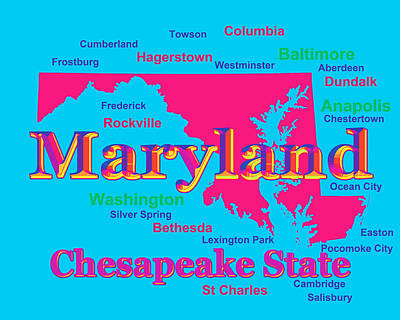 Photograph - Colorful Maryland State Pride Map Silhouette  by Keith Webber Jr