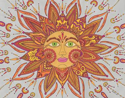 Drawing - Colorful Mehndi Sun by Pamela Schiermeyer