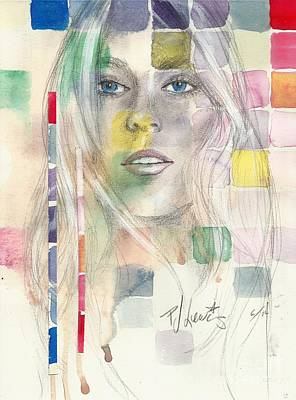 Watercolor Portrait Drawing - Colorful Memories by P J Lewis