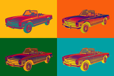 Photograph - Colorful  Mercedes Benz 280 Sl Convertible Pop Art by Keith Webber Jr