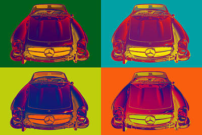 Photograph - Colorful Mercedes Benz 300 Sl Convertible Popart by Keith Webber Jr