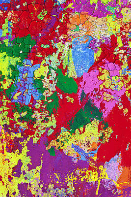 Mess Photograph - Colorful Messy Painted Wall by Garry Gay