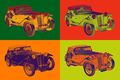 Colorful Mg Tc Antique Car Popart Art Print