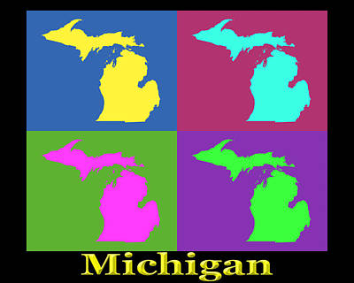 Michigan State Digital Art - Colorful Michigan State Pop Art Map by Keith Webber Jr