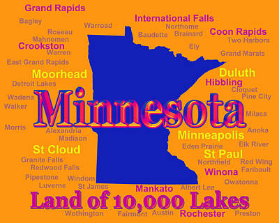 Photograph - Colorful Minnesota State Pride Map Silhouette  by Keith Webber Jr