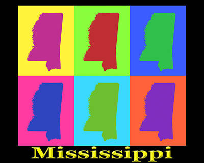 Royalty-Free and Rights-Managed Images - Colorful Mississippi State Pop Art Map by Keith Webber Jr