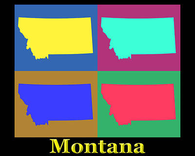 State Of Montana Photograph - Colorful Montana State Pop Art Map by Keith Webber Jr