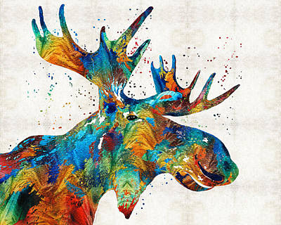 Man Cave Painting - Colorful Moose Art - Confetti - By Sharon Cummings by Sharon Cummings