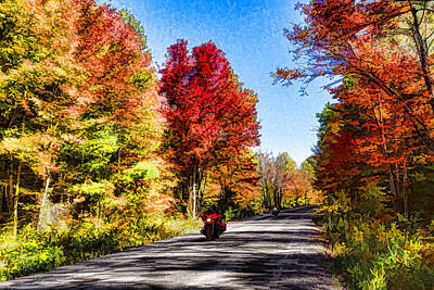Digital Art - Colorful Motorcycle Ride - Impressions Of Fall by Georgia Mizuleva