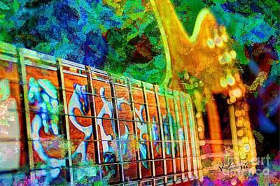 Colorful Music Digital Guitar Art By Steven Langston Art Print by Steven Lebron Langston